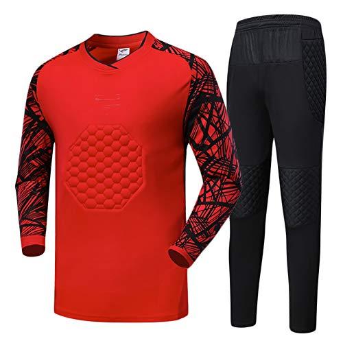 YSPORT Fußball Spiel Antikollisions Torwartuniform-Sets Gepolsterter Schutz Fußball Trikots (Color : Red, Size : L)