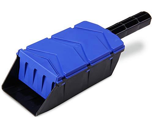 Ondis24 Streuschaufel, Handstreuer, Salzstreuer, mit Klappe, für Reinigung Katzentoilette, für Streusalz, Dünger, Sand, für Garten und Winter-Arbeit (Blau)