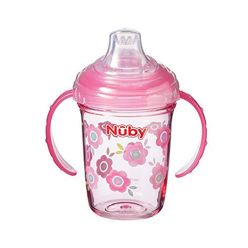 Nuby Tritan Grip N Sip Sippy Cup, 240 ml Beaker for 4 Months +, Flowers, Pink
