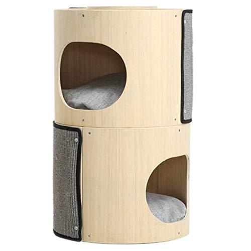 CHENMAO Pequeño Marco de Escalada de Gatos, Multicapa de cucharón de Gato, Torre de Escalada de Gato de diseño portátil para Dormitorio Pet Hospital Wood