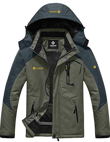 GEMYSE wasserdichte Skijacke für Herren Winddichte Fleece Outdoor-Winterjacke mit Kapuze (Armee grün grau,L)