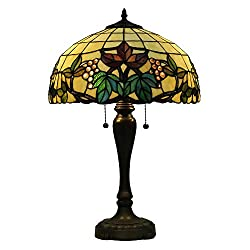 Stained Glass Style Grape and Leaves Handmade Shade with Antique Brass Finish Metal Lamp Base W16 H25 Tall for Decration Living Room or a Beautiful Gift EFFORTINC.COM