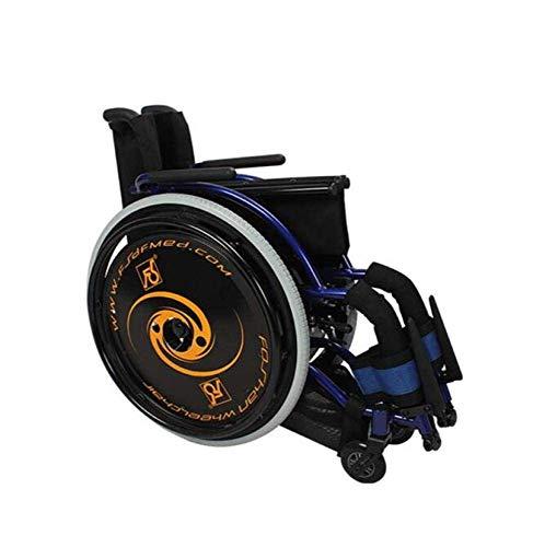 YUQIYU Deporte Tipo Sillas de ruedas silla de transporte 13.2Kg Ultra Ligera armas cómodas y piernas de elevación for descansar, Negro y Azul, A