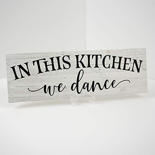 In this Kitchen, we dance Farmhouse Rustic Wall Art Kitchen Sign Home Decor Wood Sign Gift 6x18 B3-06180062019