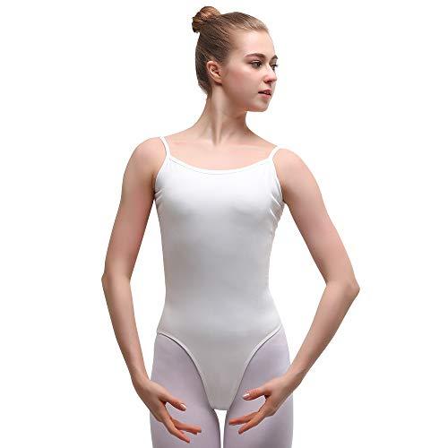 Bezioner Body da Danza Classica Donna Balletto Ginnastica Leotards con Spalline Sottili Bianco L