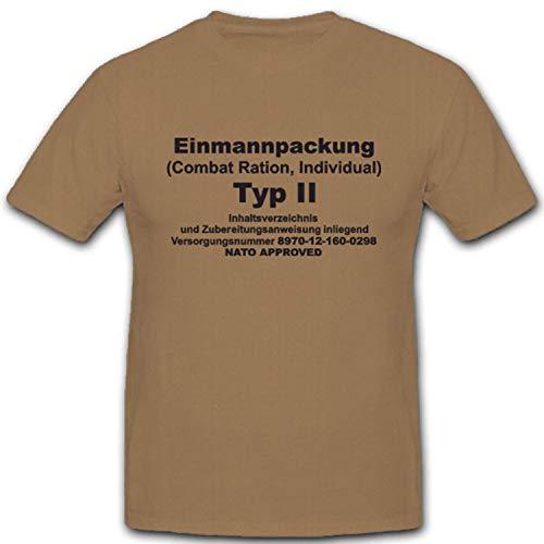 EPA Einmannpackung Typ 2 Bundeswehr Militär Nahrung Fressen - T Shirt #4976, Farbe:Sand, Größe:XXL
