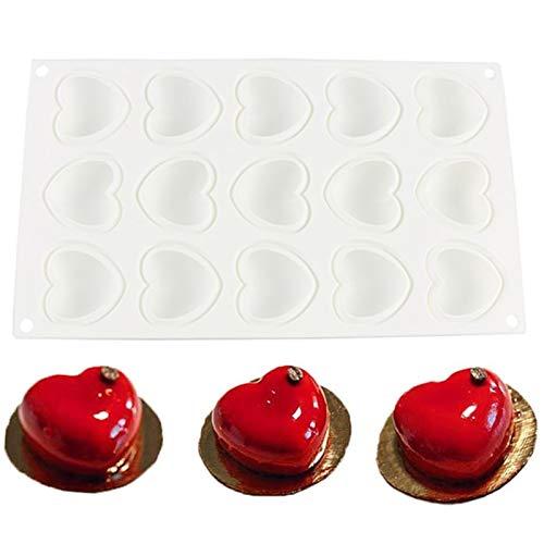 Silikon Schokoladenform in Herzform Silikonform mit Herzen 3D Schokoladenform in Herzform Silikon Herzchen Backform Silikon Herzbackform 15 Kavität für Schokolade Süßigkeiten Gelee Seife Kerzen (Weiß