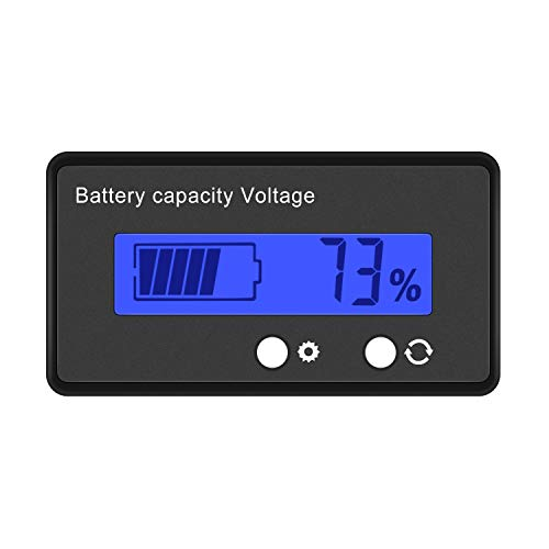 Cofemy Monitor de batería,DC 6V 12V/24V/36V/48V Monitor de Capacidad de batería LCD, medidor de Capacidad de batería Universal