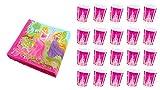 ALMACENESADAN 2608; Pack cumpleaños Disney Princesas; Compuesto por 20 Vasos y 20 servilletas; Ideal para Fiestas y cumpleaños