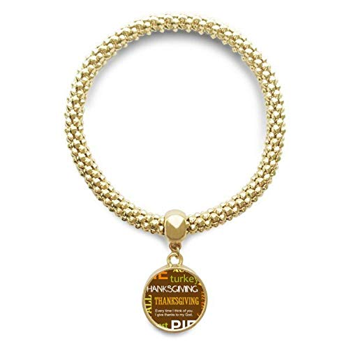 DIYthinker Womens Thanksgiving Day Autumn Pie Pattern Golden Bracelet Round Pendant Jewelry Chain