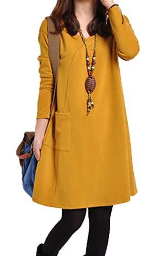 Winter Damen Freizeit Locker Lang Pulli Tuniken Pullover Sweatkleid Blusenkleider Mode V Neck Langarm Bluse Kurz Kleider Partykleider