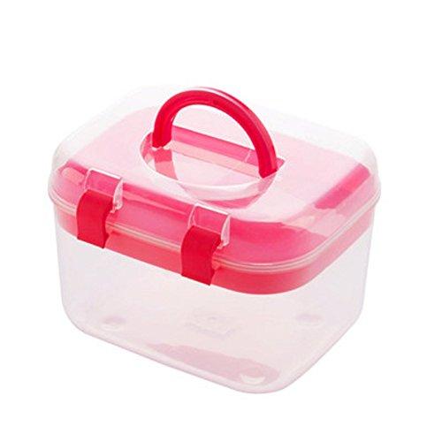 Aufbewahrungsboxen sehr nützlich, Kästchen doppelte Schichten Kunststoff für Kosmetik Nähen-Studie-Bedarf mit Deckel, plastik, rose, 16.5*13*12