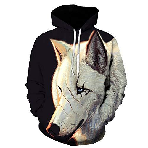 RKWEI Sudaderas con Capucha Animal Wolf Unisex 3D Print Ligero Pullover Sudadera con Capucha Sudaderas con...