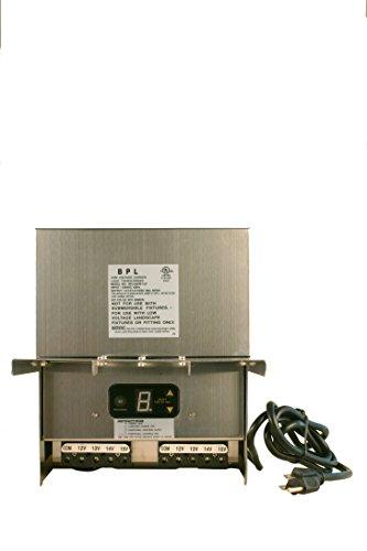 600W Watt Multi Tap 120 Volt AC to 12-15V Volt LED & Halogen - Low Voltage Landscape Lighting Indoor/Outdoor Weatherproof Transformer Power Pack w Digital Timer, Photocell Sensor - Stainless Steel
