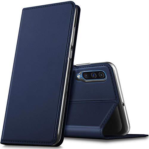 Verco Handyhülle für Galaxy A70, Premium Handy Flip Cover für Samsung Galaxy A70 Hülle [integr. Magnet] Book Hülle PU Leder Tasche, Blau