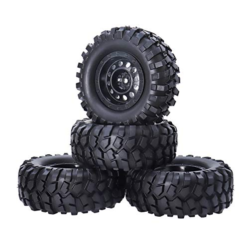 REhobby 4PCS 1/10 Rock Crawler Tires and Wheel OD 108mm Tyre Hex 12mm Hub for 1:10 RC Off-Road SCX10 D90 Scx10 Car