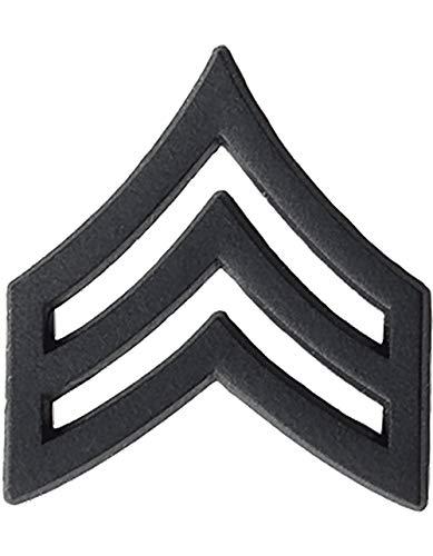 US Army Black Metal Pin-On Rank - Sergeant