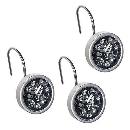 DWELLZA Shower Curtain Hooks - Set of 12 Shower Hooks for Curtain - Rust Resistant Shower Curtain Rings for Guest and Master Bathroom Shower Rods (Silver Gray)