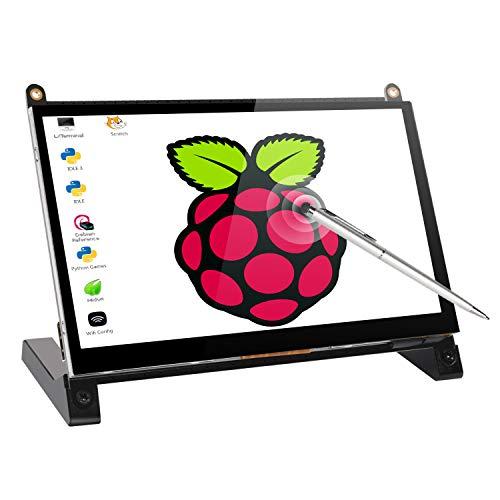 UPERFECT 7 Zoll Portable Monitor, Touchscreen Tragbarer Bildschirm 1024 x 600 mit HDMI Port für Raspberry Pi A B A + B + 2B 3B 3B +/Raspbian/Kali/Ubuntu Mate