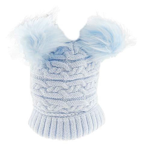 Bonnet d'hiver super doux pour bébé fille garçon tricoté à double pompon (0-24 mois, bleu)