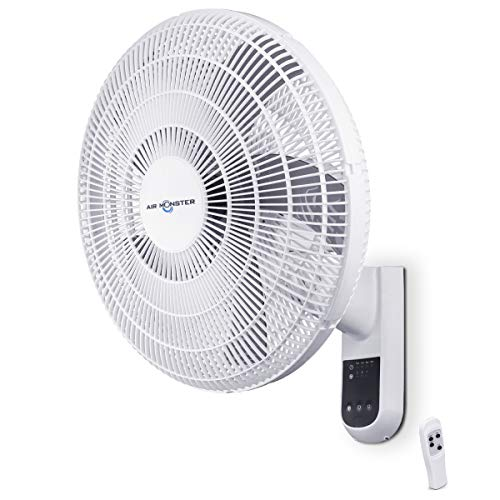 Air Monster Wall Mount Fan with remote - 16 Inch Remote Control Wall Fan, Garage Fan, 90 Degree oscillating fan with remote, 3 Speed Settings, Adjustable Tilt - ETL Listed, White