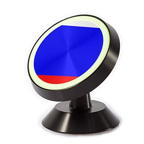 VEELFF Soporte magnético para teléfono de coche, con oxidación de aleación de aluminio + material de anillo de silicona luminoso, patrón de bandera rusa.