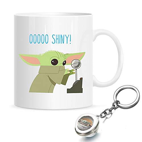 Star Wars Baby Yoda Tassen, Mandalorian Baby Yoda Kaffeetasse, lustige Keramik Milch Kaffee Tee Tasse, beste Yoda Geschenk für Kinder, Mutter und Papa