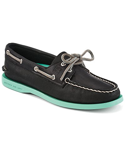 Sperry Top-Sider Women's Authentic Original,Black/Jade Leather,US 5 M