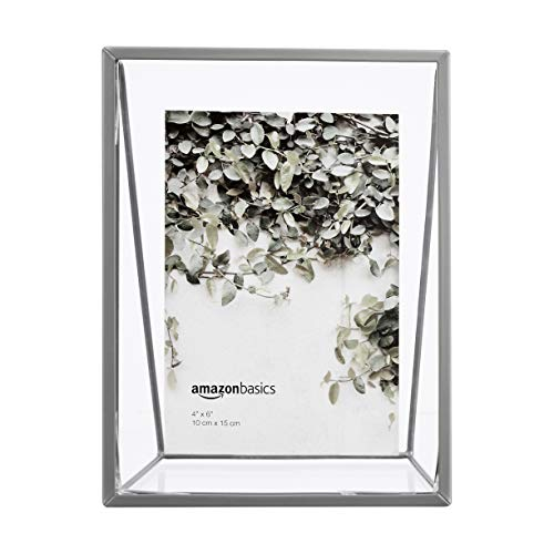 AmazonBasics - Marco de fotos flotante, diseño de cuña, 10 x 15 cm, efecto níquel