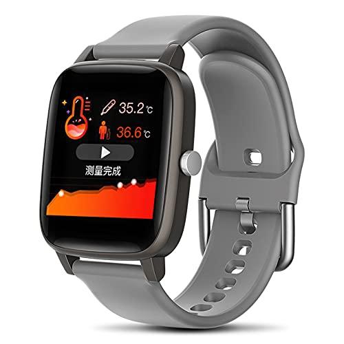 QFSLR Smartwatch Hombre Reloj Inteligente Mujer con Termómetro Monitor De Frecuencia Cardíaca Monitor De Presión Arterial Monitoreo De Oxígeno En Sangre Pulsera Actividad Inteligente,Gris