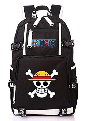 WANHONGYUE One Piece Anime Backpack Mochila Escolar Estudiante Bolso de Escuela Mochila para Portátil Negro-1