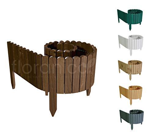Floranica® Flexibler Beetzaun 203 cm (kürzbar) aus Holz | als Steckzaun Rollborder | Beeteinfassung | Kanteneinfassung |Rasenkante oder Palisade | Imprägniert, Höhe:20 cm, Farbe:braun