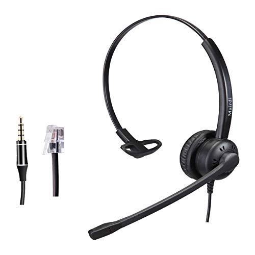Telephone headset for Office Call Center Home Phones With Noise Cancelling Microphone Compatible with Yealink Grandstream Snom Panasonic Including 3.5mm Connector for Cell Phone iPhone Samsung Laptops