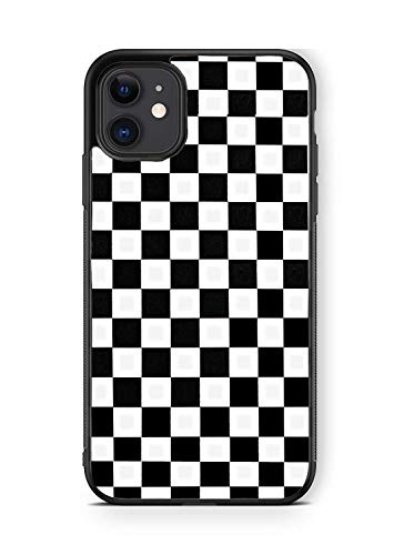 XUNQIAN Compatible for iPhone 12 Case, iPhone 12 Pro Case, Black White Checkered Flag Checkerboard Thin Soft Black TPU +Tempered Mirror Material Protective Case for Apple 12/12 Pro (A-Checkered Flag)