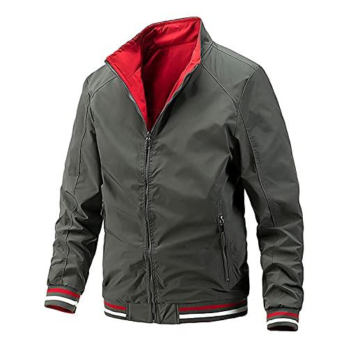 Xmiral Trucker Giacca Uomo casual autunno inverno da indossare su entrambi i lati tasche cappotti camicetta ( L,3grigio scuro )