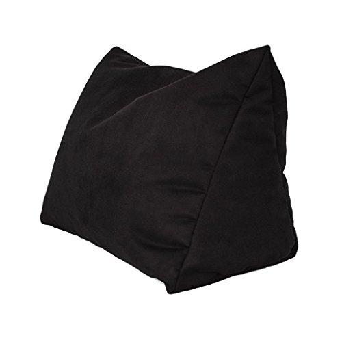Lesekissen und Rückenstütze in Mikrofaser für optimalen Sitzkomfort Keilkissen Nackenkissen Dekokissen Fernsehkissen für Bett und Couch mit Schaumstoffflocken (schwarz)