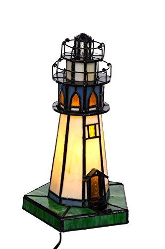 Tischlampe im Tiffany Style Leuchtturm, Tiff 130, Tischlampe Motiv Lampe, Dekorationslampe, Tiffany Style, Glaslampe, Leuchte,Tischlampe, Stehleuchte, Stehlampe, Leuchte Lampe