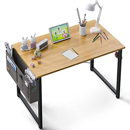 ODK Computer Small Kids Writing Desk 31 inch,Work Study Home Office Desk for Small Space, Work Desk with A Storage Bag and Headphone Hook, Walnut