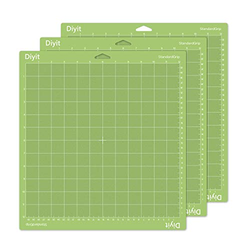 Diyit 12x12 Cutting Mat Standard Grip for Cricut Maker/Explore Air 2/Air/One, 3 Pieces Green Cutting Mat for Crafts