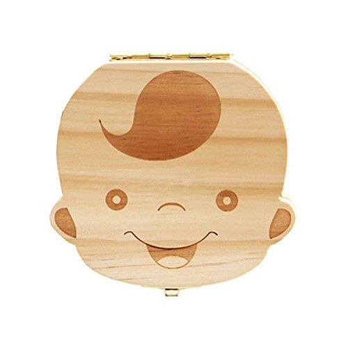 Drawihi Holz Baby Milchzähne Aufbewahrungsbox Milchzähne Box für Kinder Jungen Prinz Zahnbox Zahndose Milchzahndose Zahndöschen Jungen (Englische Version)