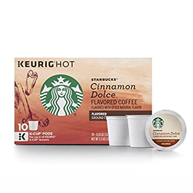 Starbucks Cinnamon Dolce Flavored Blonde Light Roast Single Cup Coffee for Keurig Brewers, 6 Boxes of 10 (60 Total K-Cup pods)