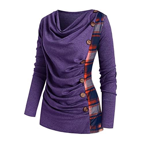 Zebin Maxi Maglia per Leggings T-Shirt Monopetto con Bottoni a Quadri a Maniche Lunghe Scollo Tondo da Donna