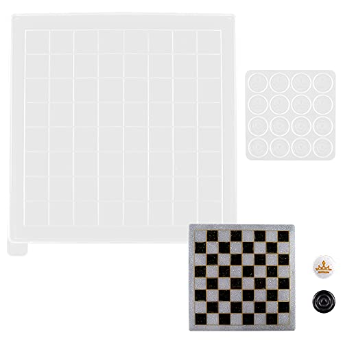 HQdeal Molde Silicona Resina, Moldes de Resina Epoxi con Tablero de ajedrez y Piezas de ajedrez, Kit de Molde de Fundición de Resina para DIY manualidades