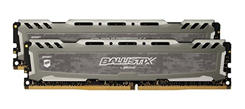 Ballistix Sport LT 8GB Kit (4GBx2) DDR4 2400 MT/s (PC4-19200) DIMM 288-Pin - BLS2K4G4D240FSB (Gray)