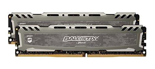 Crucial Ballistix Sport LT BLS2K16G4D26BFSB 2666 MHz, DDR4, DRAM, Memoria Gamer Kit para ordenadores de sobremesa, 32 GB (16 GB x 2), CL16 (Gris)