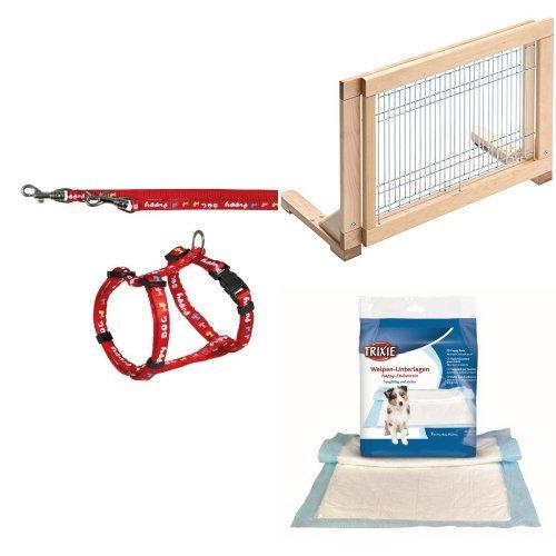 Trixie Welpengarnitur + Trixie 3944 Hunde-Absperrgitter für Treppen und Türen + Trixie 23413 Welpen-Unterlage Nappy-Stubenrein