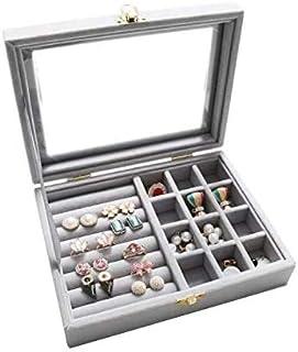 صندوق مجوهرات منظم صندوق مجوهرات حامل عرض مزود بزجاج شفاف مزود بفحص علوي مزود بفحص مائي للنساء