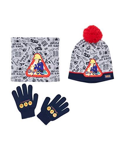 Brandweerman Sam 3-delige set bestaande uit: sjaal, muts en handschoenen grijs