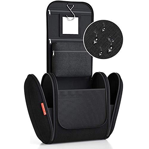Kulturbeutel XXL [Design 2021] Kulturtasche für Männer und Frauen [8 Liter Stauraum], Kosmetiktasche für Mann und Frau, Waschtasche, Waschbeutel zum Aufhängen für Damen & Herren (Schwarz)