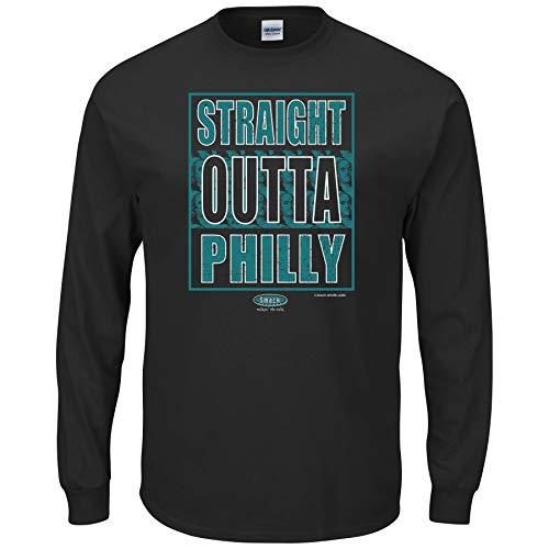 Philadelphia Football Fans. Straight Outta Philly Black T-Shirt (Sm-5X) (Long Sleeve, Small)